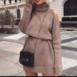 Tan Cold Shoulder Knit Turtleneck Sweater Dress